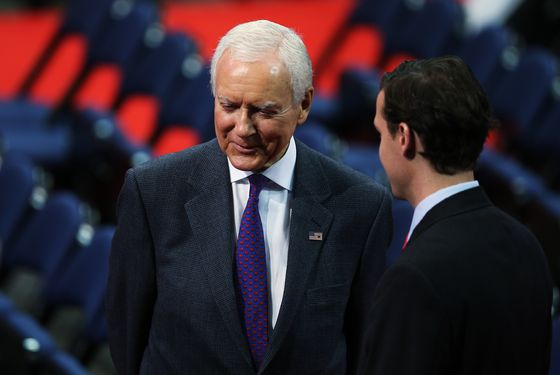 U.S. Sen. Orrin Hatch (R-UT) (L) stands on the floor before the start of the abbreviated first day of the Republican National Convention at the Tampa Bay Times Forum on August 27, 2012 in Tampa, Florida. The RNC is scheduled to convene today, but will hold its first full session tomorrow after being delayed due to Tropical Storm Isaac.