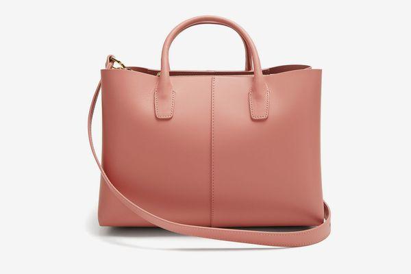 Mansur Gavriel Blush-Pink Lined Folded Leather Bag