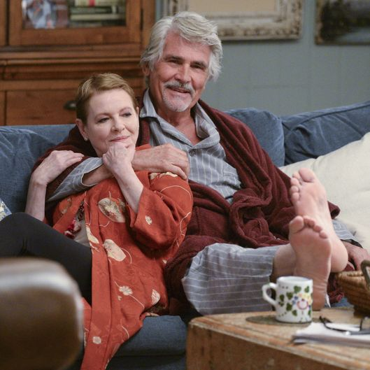LIFE IN PIECES, airing Mondays 8:30-9:00 PM, ET/PT, is CBS\'s new single camera comedy about one big happy family and their sometimes awkward, often hilarious and ultimately beautiful milestone moments as told by its various members.   Dianne Wiest stars as Joan, the family\'s adoring matriarch who would do anything for her three adult kids, as long as she agrees with it; and James Brolin stars as John, the gregarious patriarch who\'s searching for ways to soften the blow of turning 70. Series moves to Thursdays 8:30-9:00 PM, ET/PT starting in November. Photo: Darren Michaels/CBS  ?'??2015 CBS Broadcasting, Inc. All Rights Reserved