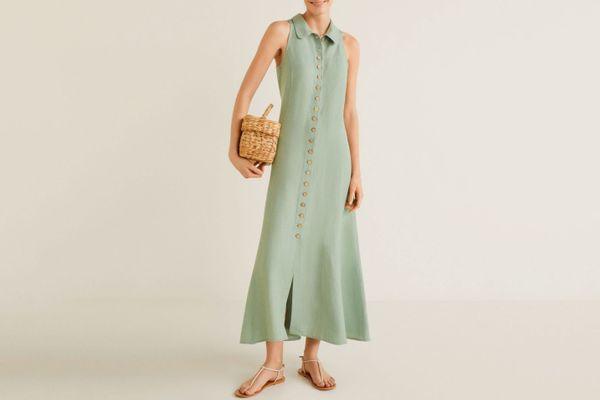 Mango Button Linen Dress