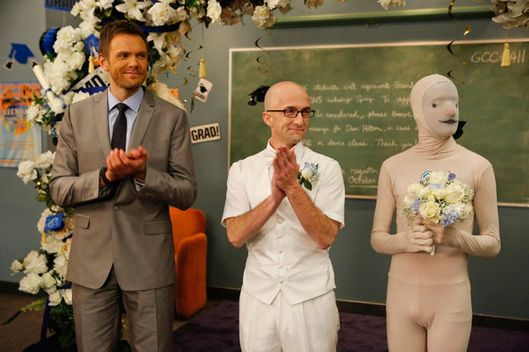 "COMMUNITY -- ""Advanced Intro To Finality"" Episode 411 -- Pictured: (l-r) Joel McHale as Jeff Winger, Jim Rash as Dean Pelton -- (Photo by: Vivian Zink/NBC)"