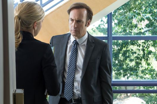 Bob Odenkirk as Jimmy McGill and Rhea Seehorn as Kim Wexler - Better Call Saul _ Season 2, Episode 3 - Photo Credit: Ursula Coyote/Sony Pictures Television/ AMC