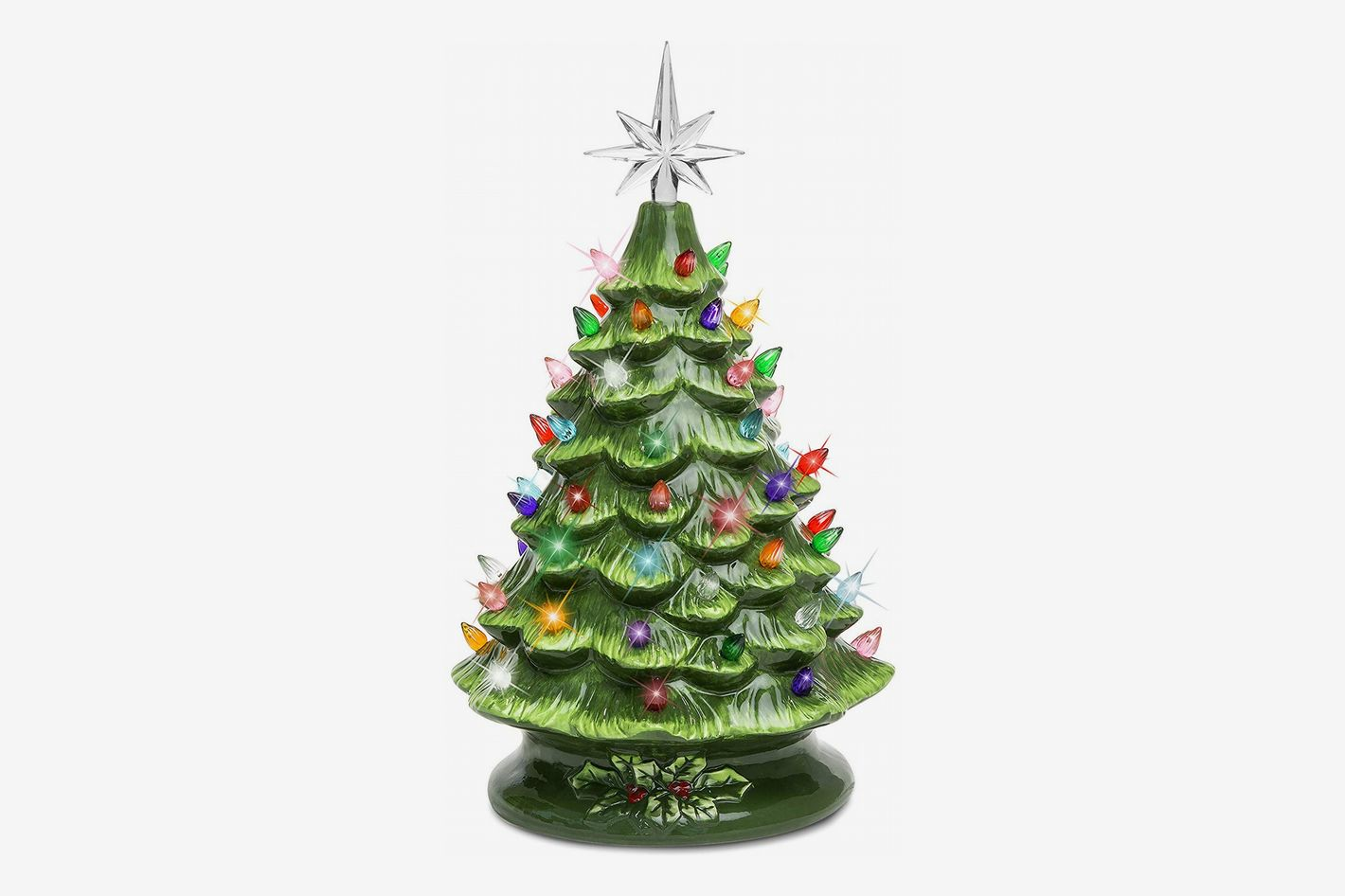 Best Choice Products 15 Inch Prelit Ceramic Tabletop Christmas Tree