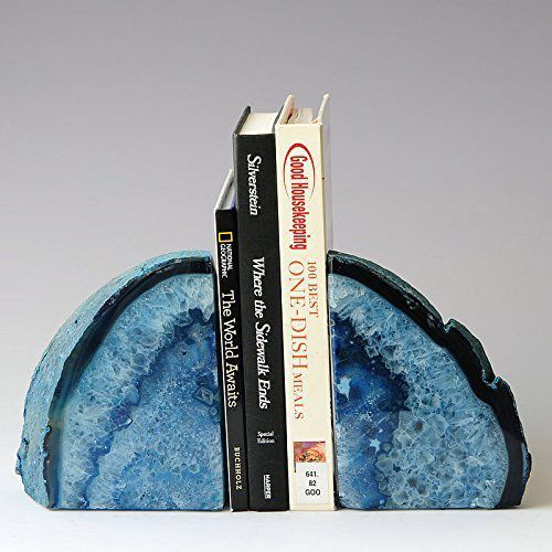 JIC Gem Agate Bookend Dyed Blue Polished 1 Pair