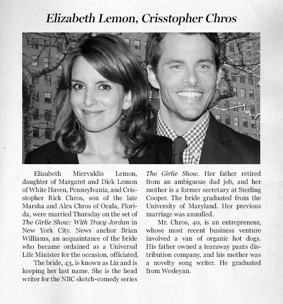 New York Times Wedding Announcement.Read A Wedding Announcement For 30 Rock S Liz And Criss