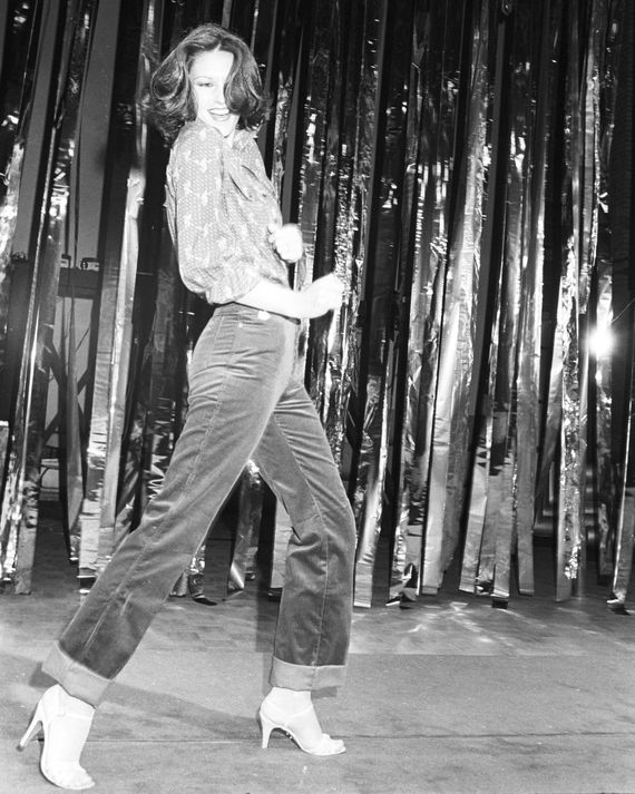 A model at Gloria Vanderbilt's Fall 1978 fashion show in New York.