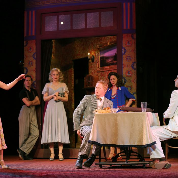 Emily Bergl, Brian T. Lawton, Heidi Schreck, Jesse Tyler Ferguson, Rachel McMullin and Hamish Linklater in The Public Theater's Shakespeare in the Park production of The Comedy of Errors, directed by Daniel Sullivan, running at the Delacorte Theater in Central Park through June 30.
