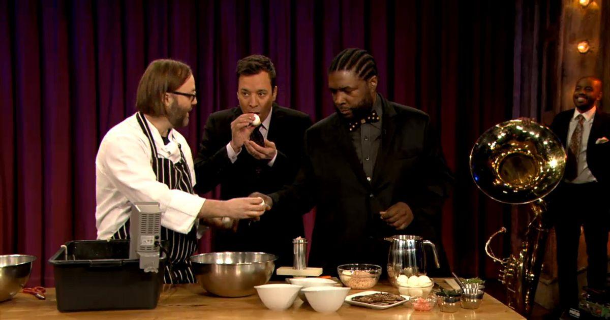 Watch Wylie Dufresne Make Shrimp-Noodle Ramen and Blow Eggs on Fallon