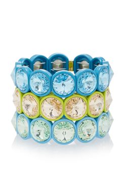 Roxanne Assoulin Set-Of-Three Hip Hop But Not Lagoon Enamel And Swarovski Crystal Bracelets