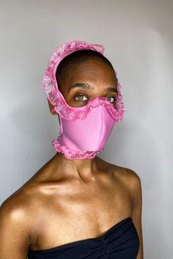 Tia Adeola Pink Ruffle Face Mask