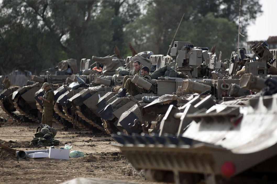 Israeli tanks on the border with Gaza.
