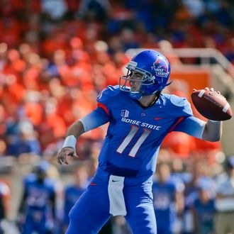 BOISE, ID - OCTOBER 01: Kellen Moore #11 of the Boise State Broncos pulls back for a pass against the Nevada Wolf Pack at Bronco Stadium on October 1, 2011 in Boise, Idaho. (Photo by Otto Kitsinger III/Getty Images)