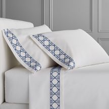 Williams Sonoma Chambers Cane Embroidery 300 Thread Count Sheet Set