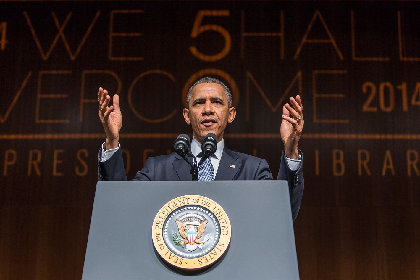 AUSTIN, TX - APRIL 10:  U.S. President Barack Obama gives the keynote speech on the third day of the Civil Rights Summit at the LBJ Presidential Library April 10, 2014 in Austin, Texas. The summit marks the 50th anniversary of the passing of the Civil Rights Act legislation. (Photo by Ricardo Brazziell-Pool/Getty Images)