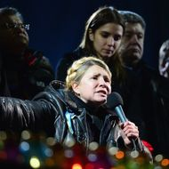 Former Ukrainian Prime Minister Yulia Tymoshenko addresses the crowd in Independence Square after being freed from prison on February 22, 2014 in Kiev, Ukraine. Ukrainian members of parliament have voted to oust Viktor Yanukovych and bring presidential elections forward to the 25th of May.