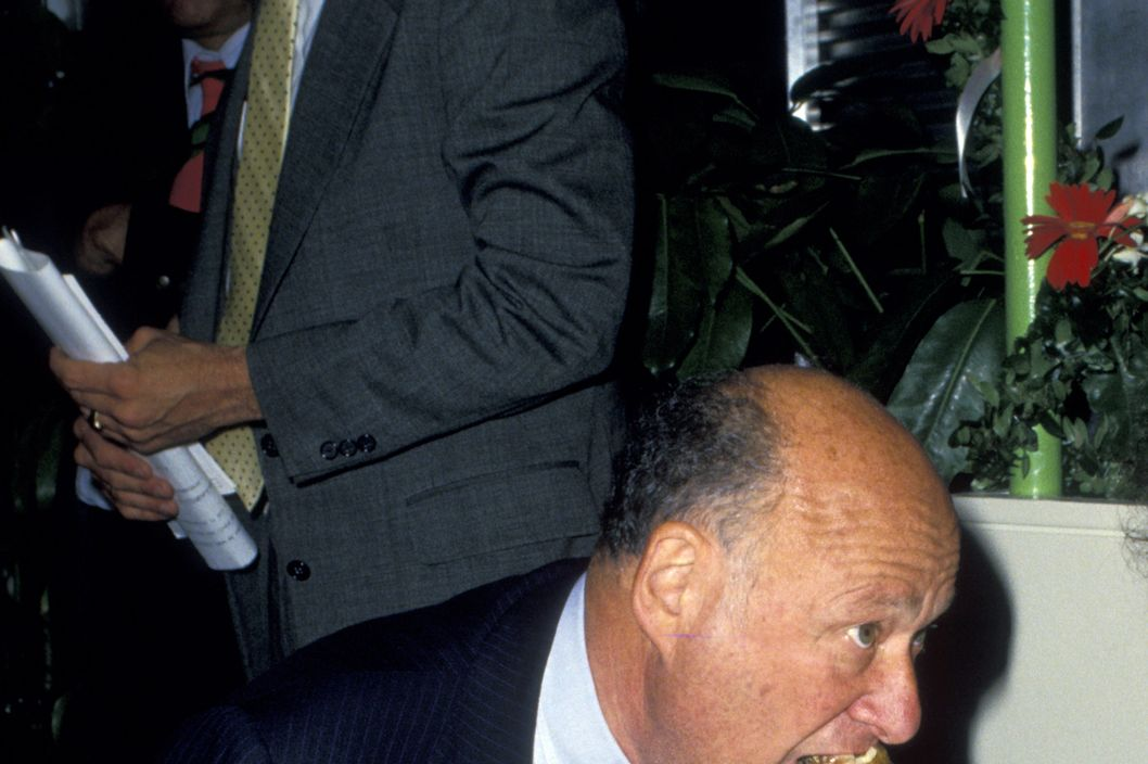 "Ed Koch during ""Meals On Wheels"" Benefit at Rockefeller Center in New York City, New York, United States."