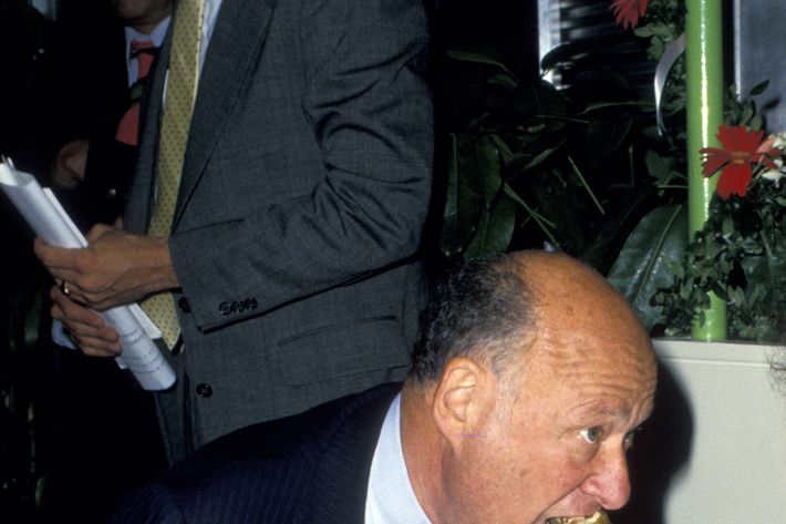 The man could eat: Koch at a 'Meals on Wheels' Benefit at Rockefeller Center in 1987.