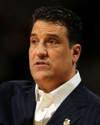 DENVER, CO - MARCH 17: Head coach Steve Lavin of the St. John's Red Storm looks on from the bench against the Gonzaga Bulldogs during the second round of the 2011 NCAA men's basketball tournament at Pepsi Center on March 17, 2011 in Denver, Colorado. (Photo by Doug Pensinger/Getty Images) *** Local Caption *** Steve Lavin