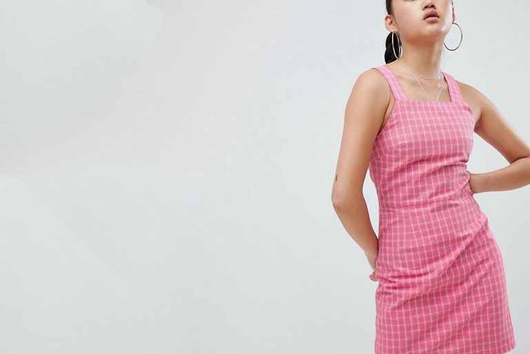 Daisy Street Pinafore Dress In Check