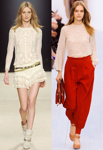 """Isabel Marant had incredible lace: all of those really pretty, soft blouses, dresses, and skirts. And there was no shortage of beautiful lace at Valentino.""  <b>Must-have</b>: Isabel Marant lace blouse (left)."