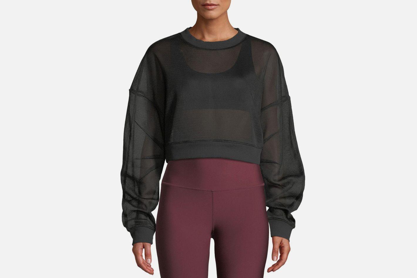 Alo Yoga Rowe Mesh Sheer Cropped Pullover Sweatshirt