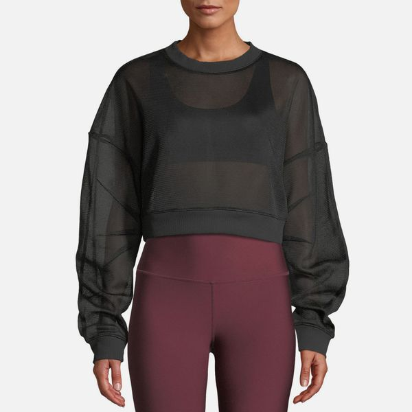 Alo Yoga Rowe Mesh Sheer Cropped Pullover Sweatshirt