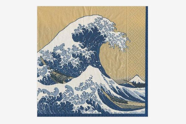 Caspari The Great Wave Dinner Napkins in Gold - Pack of 20