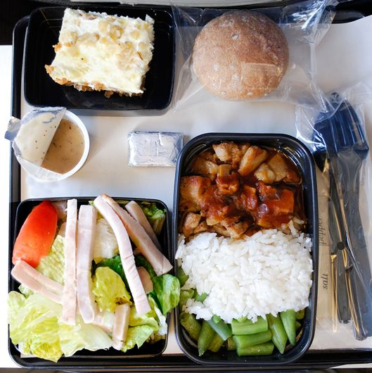 Dinner on an airplane