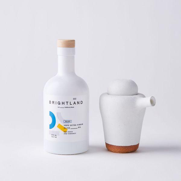 Brightland Olive Oil & Handmade Ceramic Pourer Gift Set