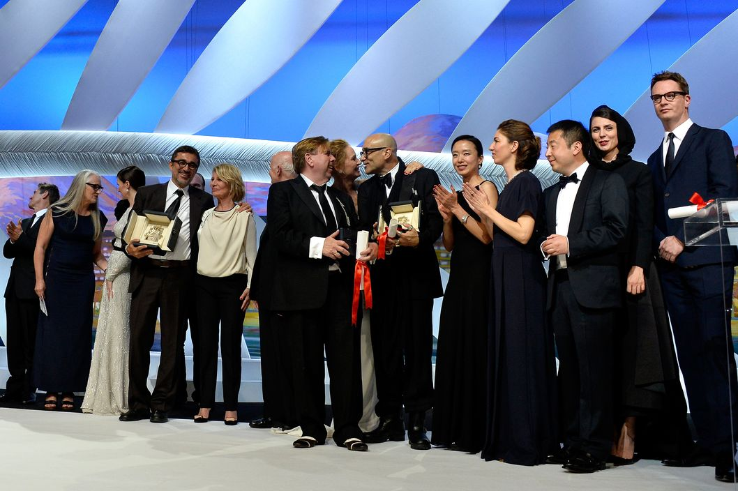 CANNES, FRANCE - MAY 24:  (L-R) Willem Dafoe, Jane Campion, Paz Vega, Nuri Bilge Ceylan, Nicole Garcia, Gilles Jacob, Timothy Spall, Uma Thurman, Bruce Wagner, Do-yeon Jeon, Sofia Coppola, Zhangke Jia, Leila Hatami and Nicolas Winding Refn pose on stage during the Closing Ceremony at the 67th Annual Cannes Film Festival on May 24, 2014 in Cannes, France.  (Photo by Pascal Le Segretain/Getty Images)