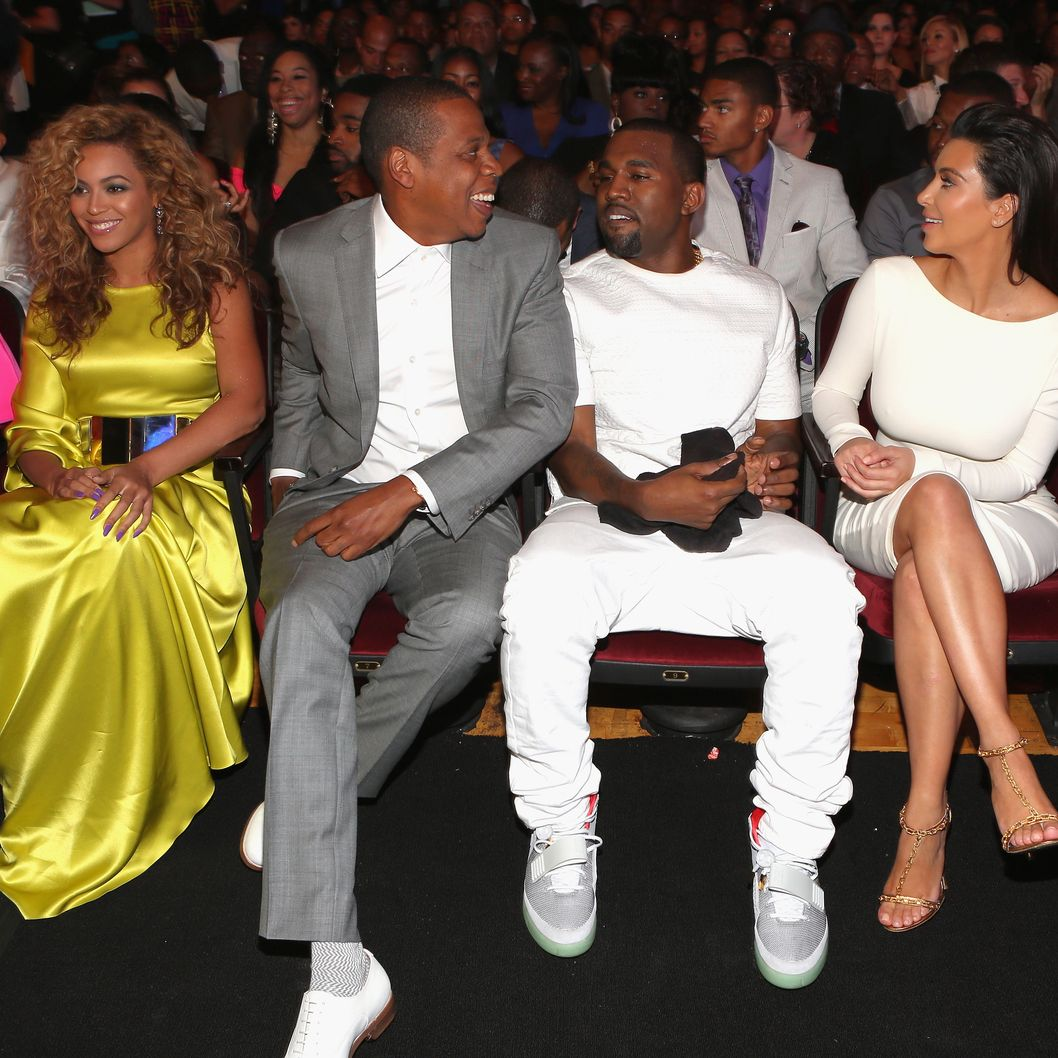 (L-R) Singer Beyonce, rappers Jay-Z and Kanye West and television personality Kim Kardashian attend the 2012 BET Awards at The Shrine Auditorium on July 1, 2012 in Los Angeles, California.