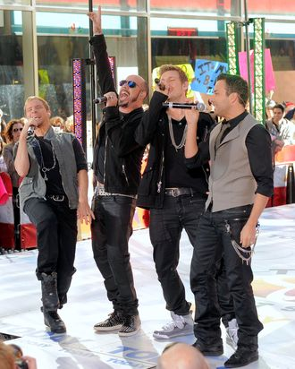 Singers Brian Littrell, AJ McLean, Nick Carter and Howie Dorough of the Backstreet Boys perform on NBC's