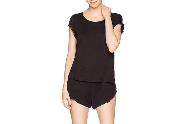 Mae Women's Curved Trim T-Shirt and Short Pajama Set