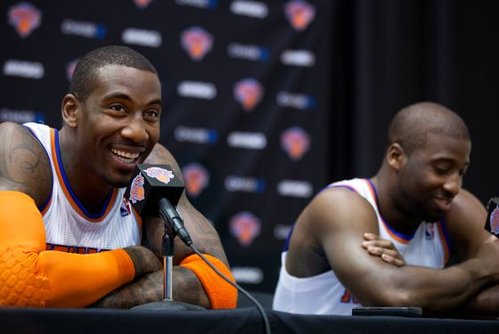 The Knicks' Amar'e Stoudemire, left, smiles along with Raymond Felton during Media Day at the New York Knicks training facility in Greenburgh, N.Y. Monday, Oct. 1, 2012.