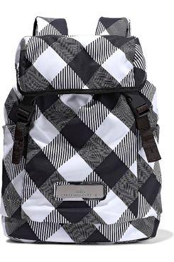 Adidas By Stella McCartney Mesh-Paneled Checked Shell Backpack