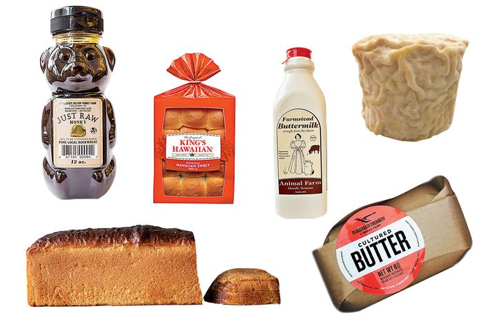 Clockwise, from top left: Buckwheat honey, King's Hawaiian buns, Animal Farm buttermilk, Crown Finish Caves Paymaster cheese, Ploughgate Creamery's cultured butter, She Wolf Bakery bread.