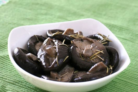 Lightly pan fried Chinese mushrooms with rosemary and olive oil