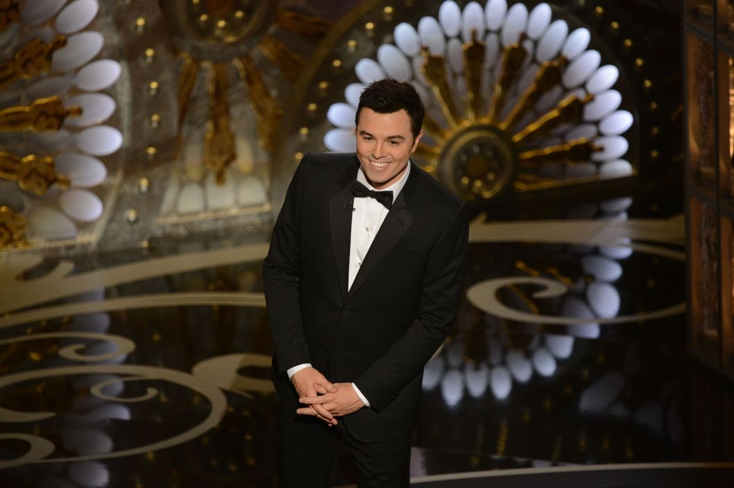Host Seth MacFarlane speaks onstage at the 85th Annual Academy Awards on February 24, 2013 in Hollywood, California.