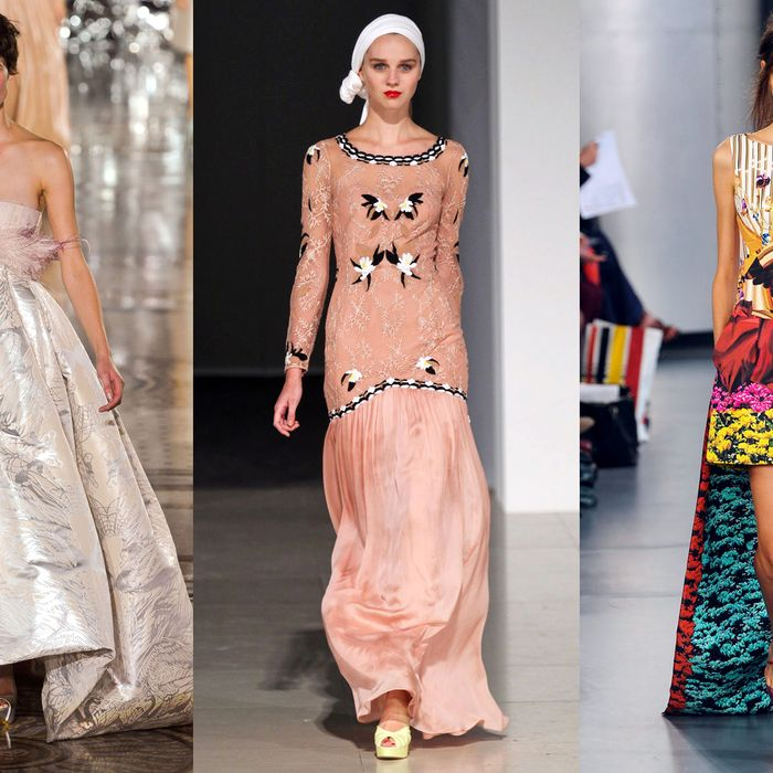 From left: new spring looks from Giles Deacon, Temperley London, and Mary Katrantzou.