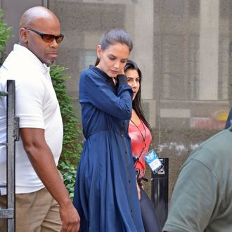 Katie Holmes seen leaving the New School at Parsons School of Design after taping 'Project Runway' in New York City.