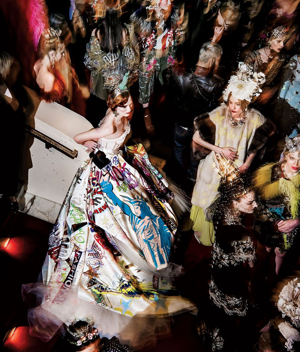 Above  Karen Elson models a one-of-a-kind gown during the Alta Moda fashion  show at the Metropolitan Opera. 9947640a8c30