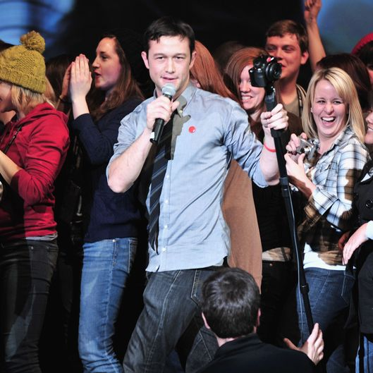 PARK CITY, UT - JANUARY 26:  Actor Joseph Gordon-Levitt talks onstage at hitRECord at the Movies With Joseph Gordon-Levitt during the 2012 Sundance Film Festival on January 26, 2012 in Park City, Utah.  (Photo by George Pimentel/Getty Images)