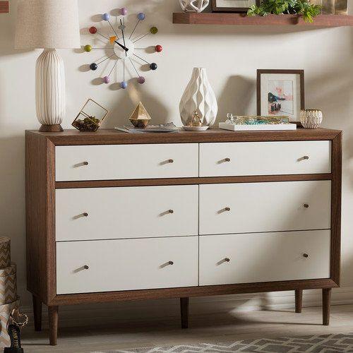Baxton Studio Harlow Mid-Century Modern Scandinavian Style Wood 6-Drawer Storage Dresser