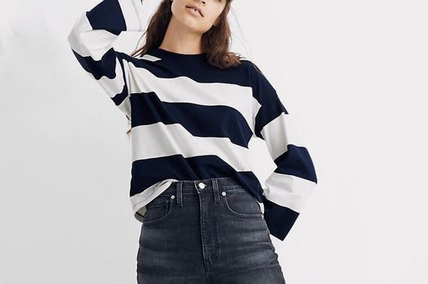 Madwell Easy Crop Long-Sleeve Tee in Rugby Stripe
