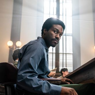 Bobby Seale (Yahya Abdul-Mateen II) in The Trial of the Chicago 7.