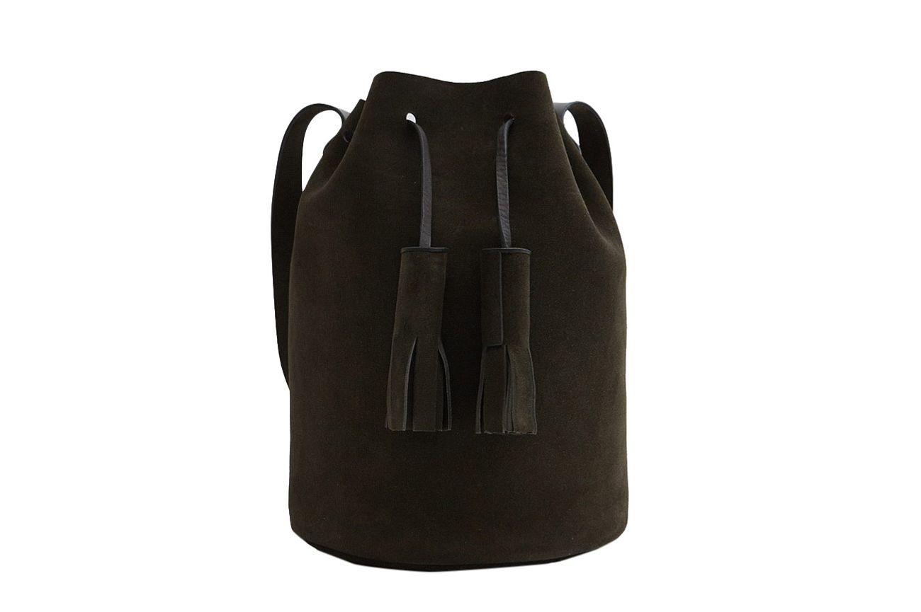 Building Block Bucket Bag in Moss
