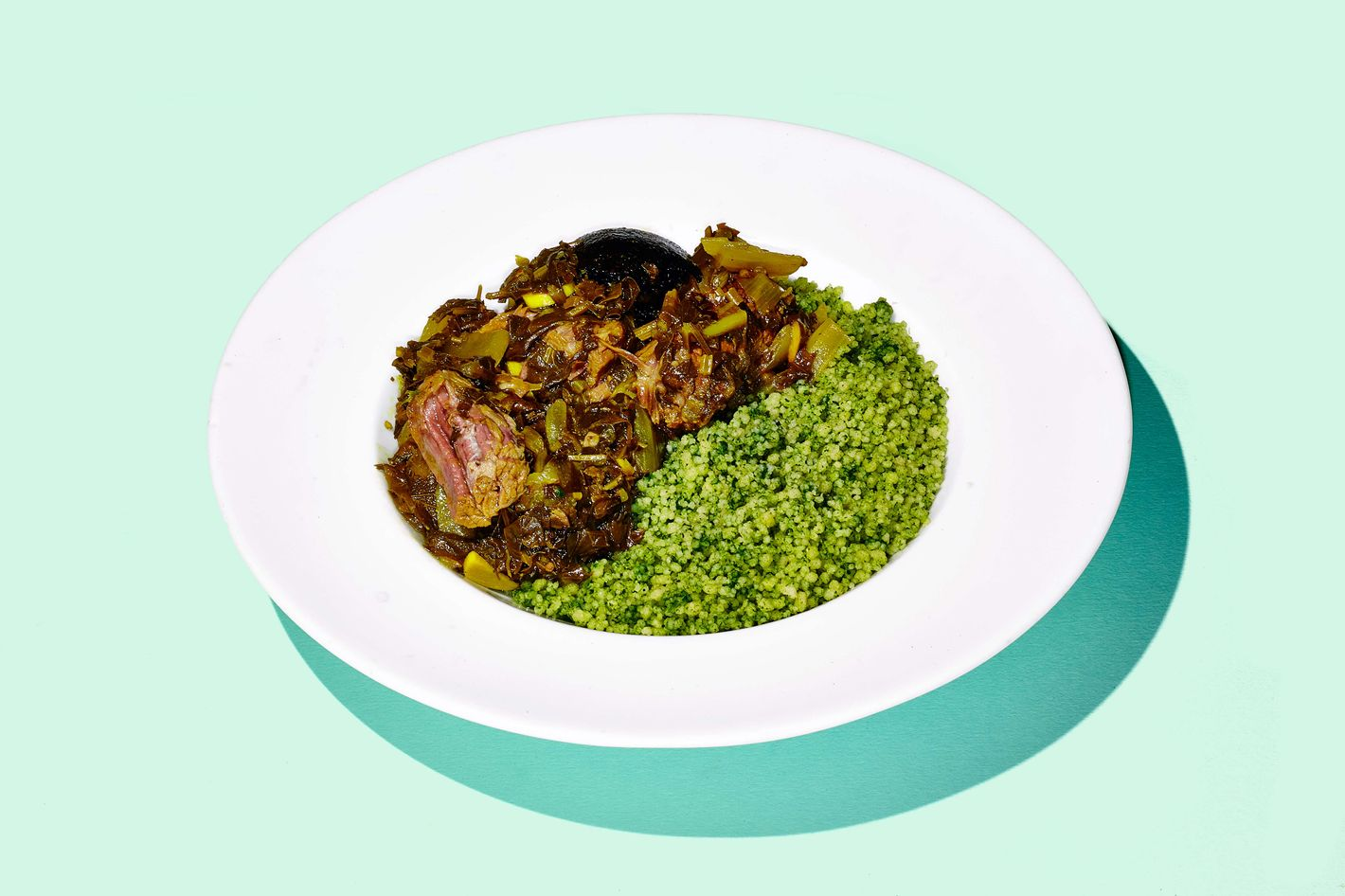 Slow-cooked beef cheek with couscous.