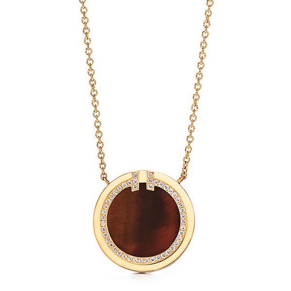 Tiffany T Two Diamond and Tiger's Eye Circle Pendant