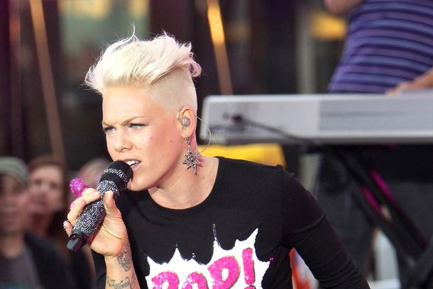 "NEW YORK, NY - SEPTEMBER 18:  Pink performs onstage on NBC's ""Today"" at Rockefeller Plaza on September 18, 2012 in New York City.  (Photo by Roger Kisby/Getty Images)"