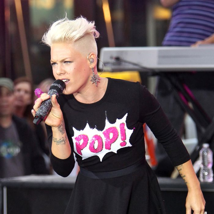 Pink performs onstage on NBC's